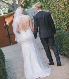Backless Bridal Gown Lace over Tulle Sweep Train V-neck 2016 Wedding Dress on Storenvy