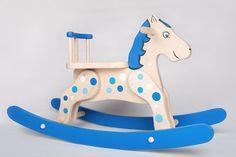 Rocking Horse Wooden Rocking Horse Blue Polka by thewoodenhorse