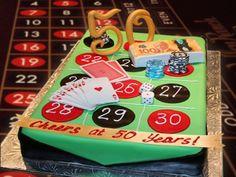 Enjoying an anniversary Las Vegas style with casino night entertainment complete with casino cake.