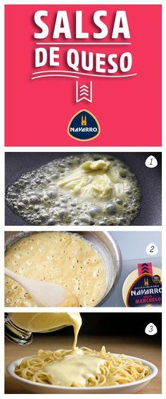 Para una Salsa de Queso: 1.- En una sartén derrite 2 cucharadas de mantequilla y añade 2 cucharadas de harina. 2.- Añade 1/2 litro de leche y agrega 200 gr de Queso Manchego NAVARRO poco a poco. Integra hasta fundir. 3.- Cuando la salsa alcance la textura deseada agrega sal al gusto y sirve de inmediato sobre una pasta o tu platillo de preferencia.