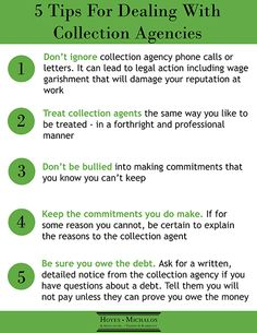 5 Tips for Dealing with Collection Agencies. #hoyesmichalos #debtfreein30 hoyes.com