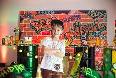 Aniversários - Miguel - Aniversário de 8 anos - Hip Hop - São José dos Pinhais - PR Art Birthday, Birthday Parties, 90s Party Decorations, Skateboard Party, Graffiti, Hip Hop Party, Urban Hip Hop, Skate Party, First Birthdays