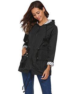 Bifast Girls Hooded Lightweigt Waterproof Rainwear Outdoor Long Slim Raincoat Black XXL