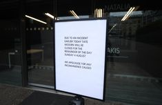 A sign posted outside of the Tate Modern reminds visitors the gallery closed earlier today due to an incident in which a teenager has been arrested after a child fell from height and was taken to hospital from the gallery in central London by air ambulance. via @AOL_Lifestyle