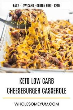 Easy Low Carb Keto Cheeseburger Casserole Recipe - With common ingredients, this easy keto cheeseburger casserole recipe is a one-dish low carb dinner for the whole family. Check the tips & variations for the best skinny low carb cheeseburger casserole ever.