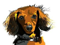 Looks just like my Lucy! Arte Dachshund, Mini Dachshund, Dachshund Puppies, Wiener Dogs, Dachshunds, Doggies, Watercolor Animals, Labradoodle, Dog Art