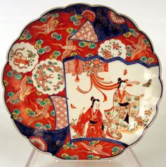 A very well decorated Imari plate from the Meiji Period with Geishas, butterflies, and cranes all over the surface of this fine plate Japanese Plates, Japanese Ceramics, Japanese Pottery, Japanese Art, Glazes For Pottery, Ceramic Pottery, Geisha, Artisan & Artist, Ceramic Texture