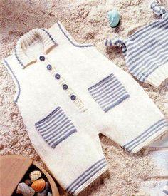 Orgel-Barett-saisonal-Shorts-Taschen-salopet - - Pattern for Working Vehicle Sweaters - Children's pu Baby Knitting Patterns, Baby Boy Knitting, Knitting For Kids, Crochet For Kids, Baby Patterns, Knitted Baby, Baby Pullover, Baby Cardigan, Baby Pants Pattern