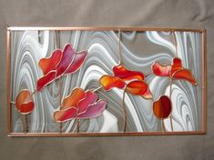 Red Tulips Stained Glass Panel Poppies by FleetingStillness