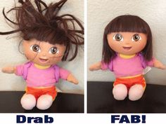 How to fix those gnarly dolly hairstyles.  I wish I had known this when I was small...Barbie probably would not have gotten a haircut...;S