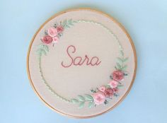 Frame with rose frame 20 cm # frame # rose frame embroidery- Gestell mit Rosenrahmen Stickerei Frame with rose frame - Wedding Embroidery, Embroidery Flowers Pattern, Embroidery Sampler, Baby Embroidery, Simple Embroidery, Hand Embroidery Stitches, Embroidery Hoop Art, Hand Embroidery Designs, Ribbon Embroidery