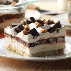 Chocolate Chip Cookie Delight Recipe: How to Make It   Taste of Home Potluck Desserts, Brownie Desserts, Oreo Dessert, Mini Desserts, Coconut Dessert, Easy Chocolate Desserts, Layered Desserts, Frozen Desserts, Easy Desserts