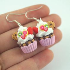 pink cupcake earringsMiniature Food Polymer Clay Miniatures