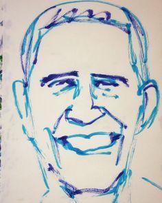 いいね!10件、コメント3件 ― @1mindrawのInstagramアカウント: 「#1mindraw #barackobama #バラクオバマ #president #大統領 #19610804 #birthday #誕生日 #portrait #筆ペン画」