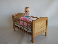 Vintage 50s Strombecker Crib With Mattress For Small by TheToyBox