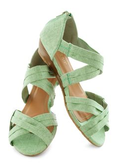 Fresh Pick Wedge in Honeydew - Green, Low, Wedge, Daytime Party, Pastel, Spring, Summer, Strappy