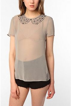 UrbanOutfitters.com > Lucca Couture Studded Trompe L'oeil Blouse