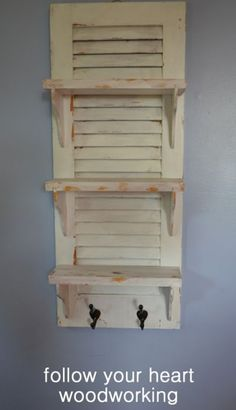 Repurposed Shutter Bookcase Shelves Dollhouse: this could go either in the dinin. Repurposed Shutter Bookcase Shelves Dollhouse: this could go eith. Furniture Projects, Home Projects, Diy Furniture, Painted Furniture, Furniture Design, Furniture Storage, Furniture Makeover, Old Shutters, Repurposed Shutters
