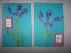 Footprint tulips: great for a flower unit, spring unit or thse make a cute free gift mom's will love.