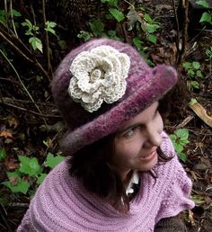 Felted Hat With Flower Handknit by creationsbycorina on Etsy, $51.00
