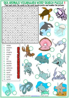 Sea Animals Word Search Puzzle ESL Worksheets For Kids Animal Worksheets, Worksheets For Kids, Vocabulary Worksheets, Printable Worksheets, Mazes For Kids, Printable Puzzles For Kids, English Lesson Plans, English Lessons For Kids, Tongue Twisters For Kids