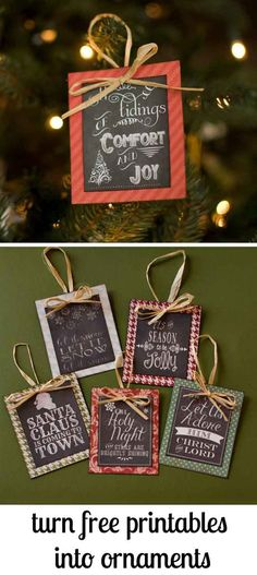Free Printable Chalkboard DIY Christmas Ornament | 27 Spectacularly Easy DIY Christmas Tree Ornaments, see more at http://diyready.com/spectacularly-easy-diy-ornaments-for-your-christmas-tree