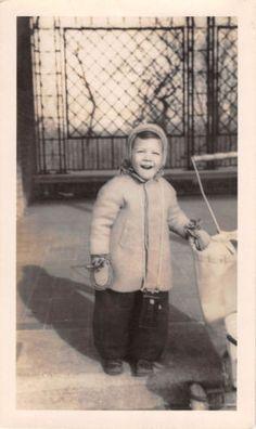 Photograph Snapshot Vintage Black and White: Boy Winter Coat Smile 1940's