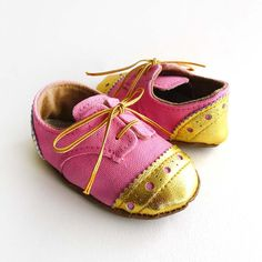 Baby Girl Shoes Bright Pink Canvas with Gold Brogued Leather Crib shoes