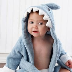 Baby Aspen andquotLet The Fin Beginandquot Personalized Terry Shark Robe. Personalized shark bathrobe for children. See More Personalized Baby Clothes at www. Baby Aspen, Baby Bath Time, 2 Kind, Blue Shark, Baby Towel, Baby Cartoon, Children Cartoon, Cartoon Fun, Kids Bath