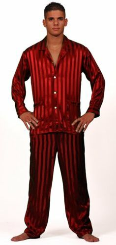 Mens Red 100% Silk Pjs