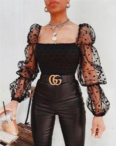 Off Shoulder Casual Dot Long Puff Sleeve Blouse Tops Look Fashion, Fashion Models, Fashion Design, Fashion Trends, Fashion Women, Fashion Clothes, Fashion Tips, Fashion Couple, Female Fashion