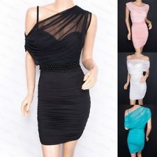 Beautiful Padded Beads Ruched Party Evening Prom Pencil Dress