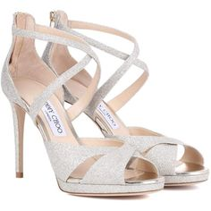 Jimmy Choo Lorina 100 Glitter Sandals ($885) ❤ liked on Polyvore featuring shoes, sandals, gold, golden shoes, jimmy choo sandals, gold high heel shoes, gold high heel sandals and jimmy choo
