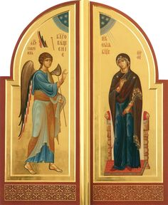 The Annunciation of the Theotokos on the Royal Doors. Byzantine Icons, Byzantine Art, Religious Icons, Religious Art, Royal Doors, Christ Pantocrator, Creativity Exercises, Art Carved, Hail Mary