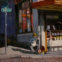 the banjo player seattle city scenes oil painting