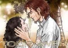 Jamie Fraser and Claire. Outlander series. Illustration by Alex Oliver.