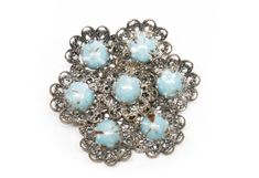 Vintage Silver Tone Filigree Southwestern Turquoise Cabochon Designer Brooch Featuring Elegant Powder Blue Accents by ClevelandFinds on Etsy
