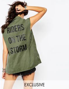 Milk It Vintage Sleeveless Utility Shirt Jacket With Riders Of The Storm Back Print - is on it's way to me <3