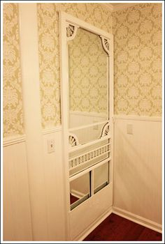 Small Bathroom Makeovers - Use an old screen door for a mirror!