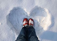A Snow Heart For You :) xoxox  Happiness is making snow hearts with red rubber boots. :)