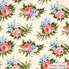 Indigo Rose Corsage Vanilla Quilt Fabric by Verna Mosquera for Freespirit