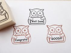 Gift for teachers Rubber stamp owl by JapaneseRubberStamps on Etsy