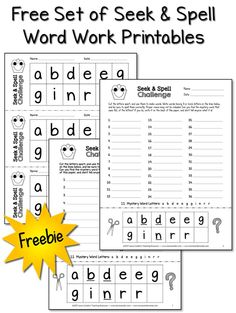 Kids love hunting for the mystery word in the Seek & Spell Word Work printables. Download this freebie and try it with your kids to see for yourself!