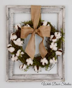 Cotton Wreath Wall Decor Rustic Wall Decor by WhiteDoorStudios