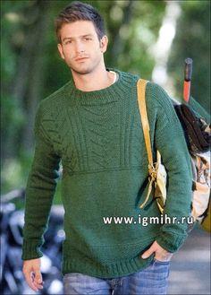 Мужской бесшовный пуловер с фантазийными узорами. Спицы