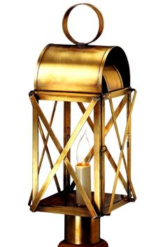 The Bunker Hill Post Mount Copper Lantern, shown here in our burnished Antique Brass finish with Clear Glass, is a traditional Colonial style copper lantern is ideal outdoor lighting for traditional homes including Colonial and Colonial Revival style homes. Made in America by hand from high quality copper or brass the Bunker Hill Post Mount Copper Lantern will never rust or corrode and includes free shipping, lifetime warranty.
