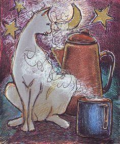Coffee Cat by Susan Kemp Coffee Cat, Sunday Coffee, Night Coffee, I Love Coffee, Textile Patterns, Illustration Art, Illustrations, Pattern Wallpaper, Cat Art