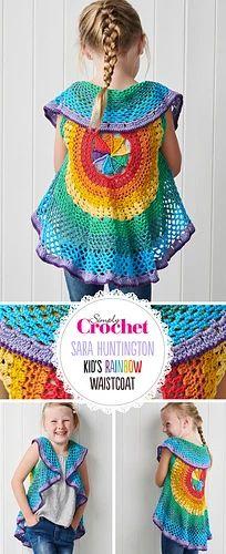 Ravelry: Kids Rainbow Mandala Waistcoat pattern by Sara Huntington
