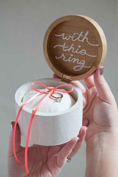 This painted ring box with an easy-to-sew cushion.