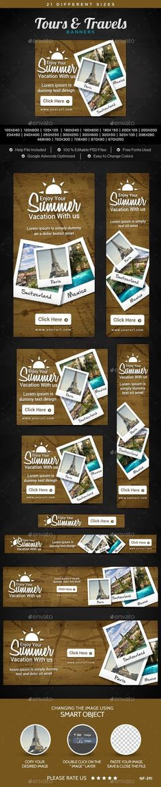 Tours & Travels Banners for $3 #WebBanner #designcollection #graphicresources #templates #BannerDesign #banner #GraphicRiver #designresource #design #graphic #BannerTemplates #graphicdesign #psd #PhotoShop Banner Template, Banner Design, Vacation Trips, Psd, Graphic Design, Templates, Studio Tours, Web Banners, Photoshop
